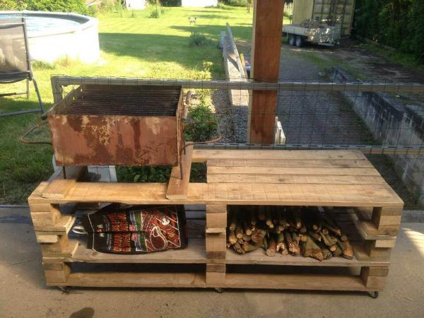 Wooden Pallet Bbq Grill Table 101 Pallets