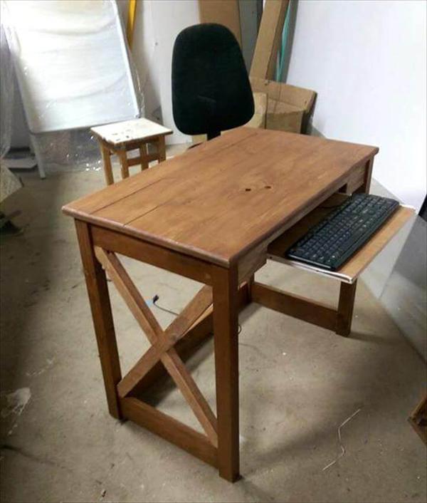 handmade pallet computer desk