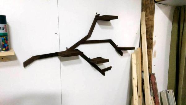 rustic pallet wood shelf inspired of tree branches