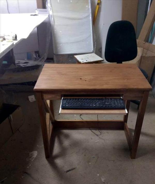 Sturdy Wooden Pallet Desk With Keyboard Tray