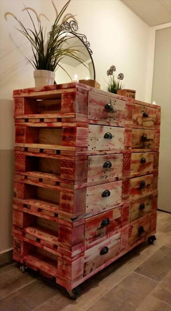 Wooden pallet 12 drawer dresser