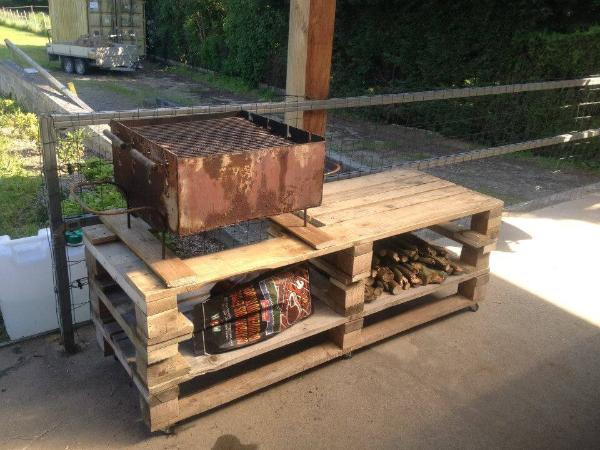 rustic wooden BBQ grill table