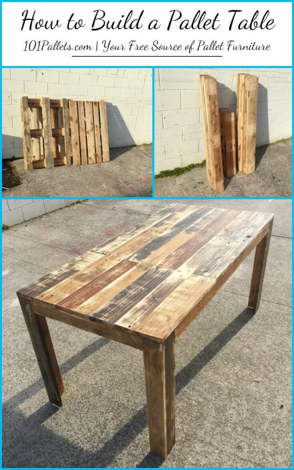 Diy how to build a pallet table 101 pallets - How to make table out of wood pallets ...