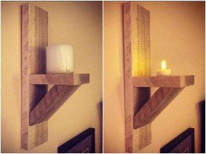 DIY Wall Mounted Pallet Candle Holders