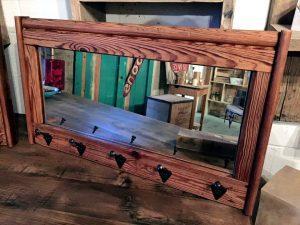 Pallet Mirror Shelf and Wall Mirror Hooks