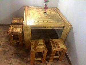 diy pallet table with stools