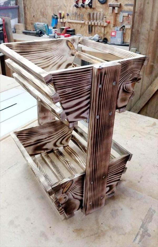 rustic wooden pallet fruit organizer