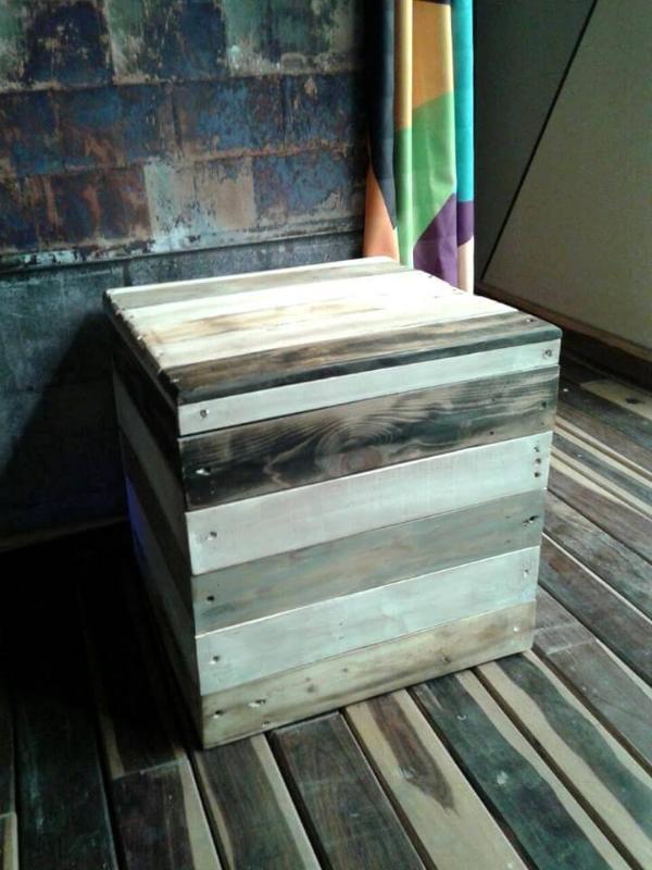 wooden pallet bucket stool
