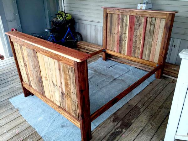 wooden pallet full size bed frame