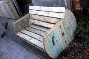 Pallet Love Seat with Cable Spool Sides