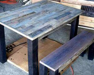 Wooden Pallet Table with Bench