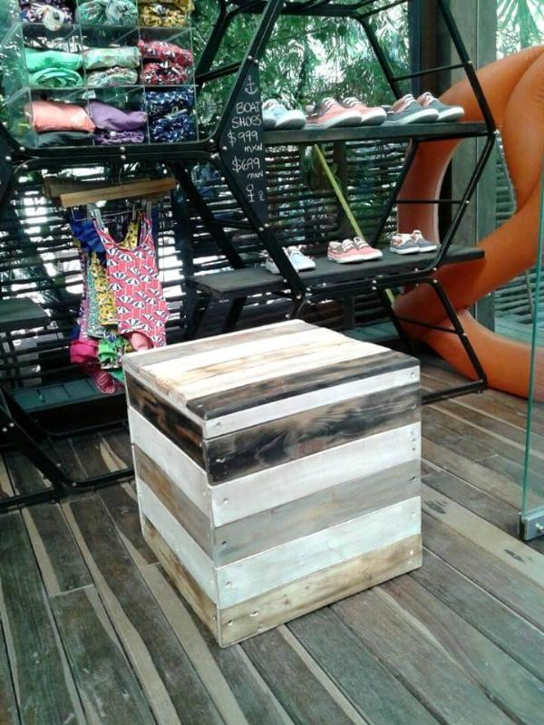Recycled pallet bucket stool