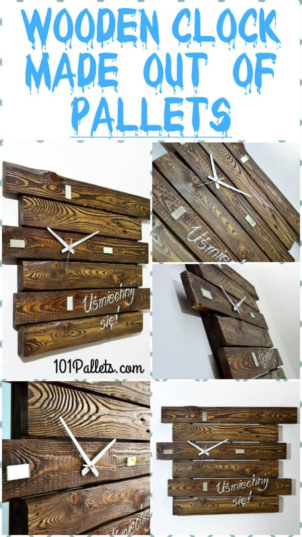 rustic wooden wall clock made of pallets