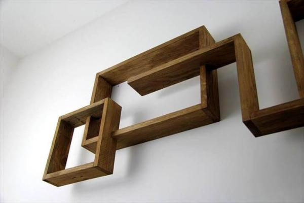wooden pallet art style wall display shelves