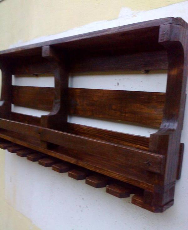reclaimed rustic pallet wall shelf