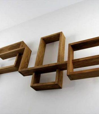 pallet geometrical wall display shelves