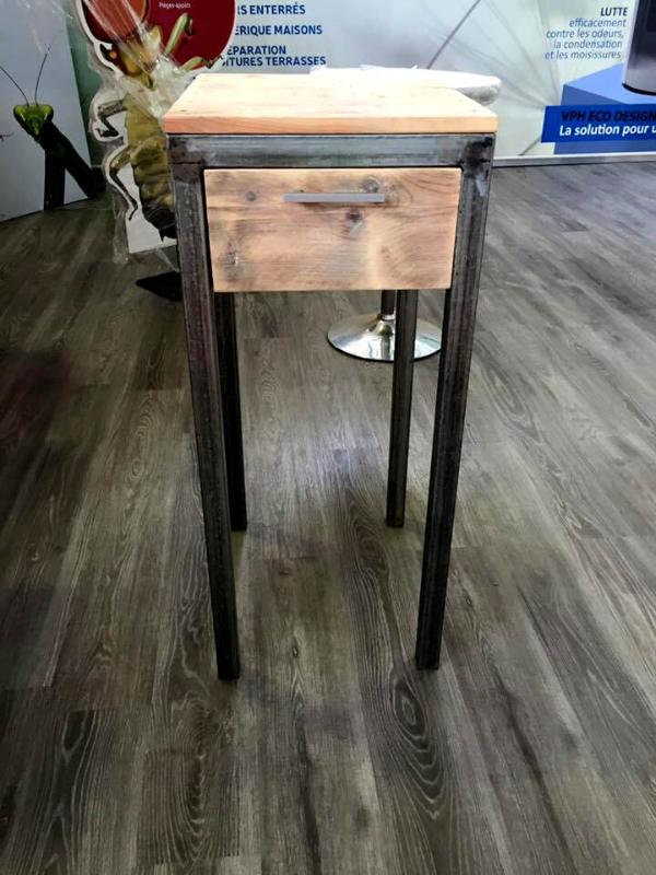 handmade pallet side table with storage drawers