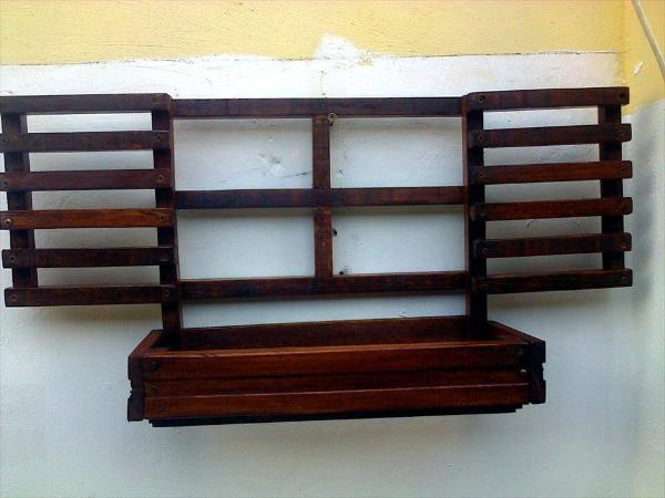 upcycled wooden pallet small window wall hanging planter