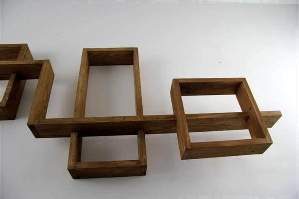 handcrafted pallet art style wall shelves