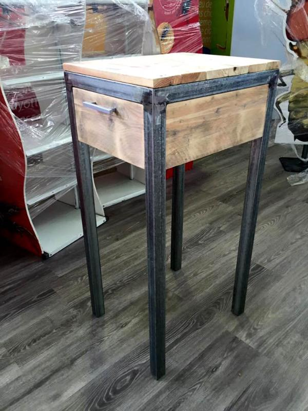 handcrafted pallet and metal side table