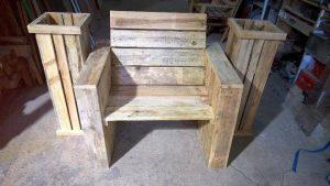 Pallet Chair with Planter Boxes