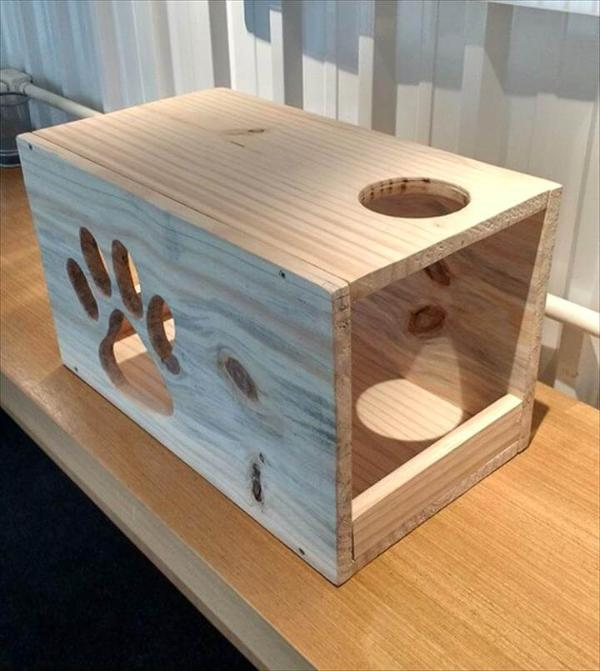 handcrafted wooden pallet cat house