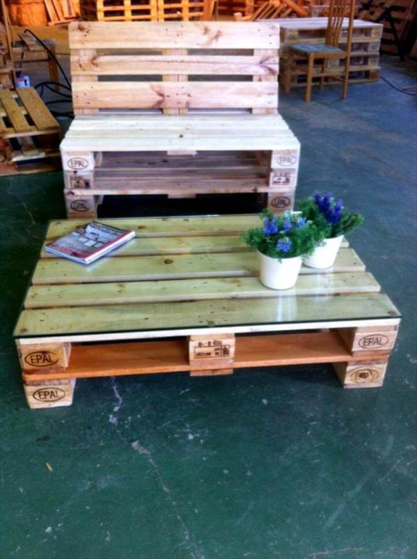 diy pallet chair with coffee table