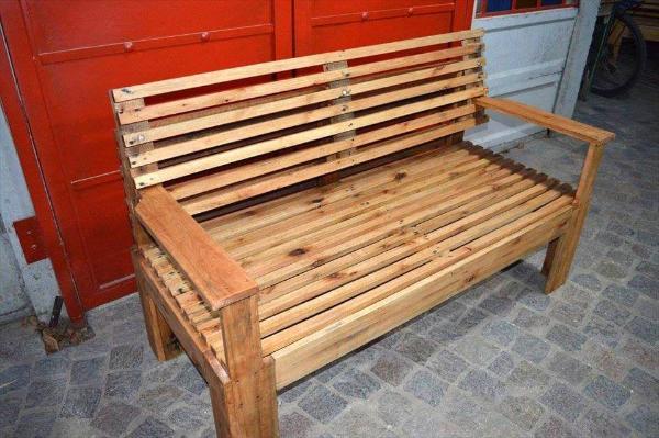sturdy wooden pallet bench