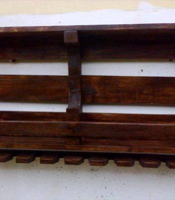 diy pallet wall shelf with glass holding surface