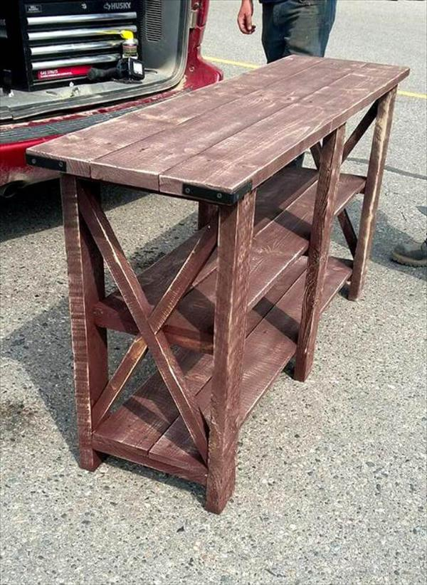 handcrafted wooden pallet console