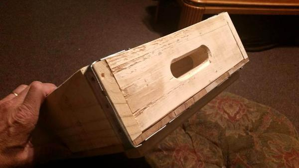 handmade wooden pallet tray with metal edges