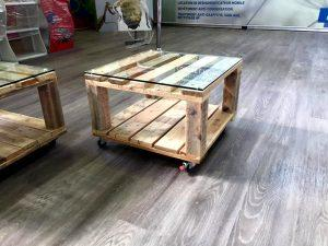Pallet Side Table and Mini Coffee Table Set