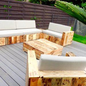 reclaimed wooden pallet block style sofa set
