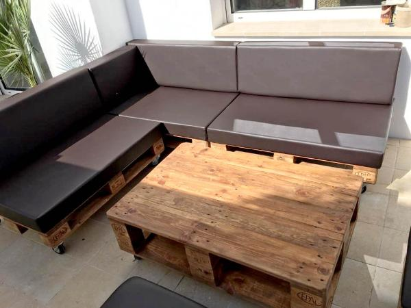 wooden pallet cushioned sectional sofa set