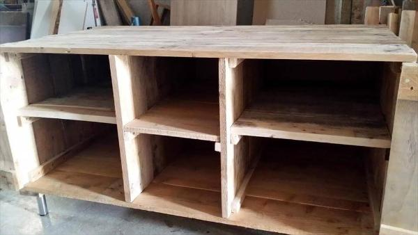wooden pallet media cabinet and TV stand
