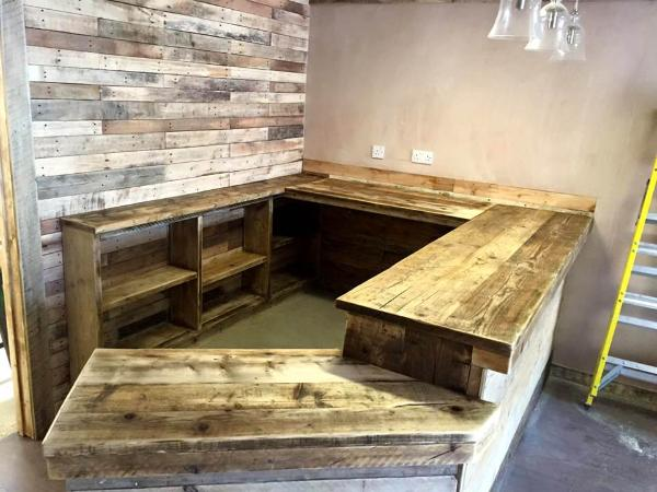 recycled wooden indoor bar installation