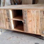 handcrafted wooden pallet media cabinet and TV stand