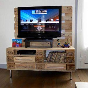 handcrafted pallet media console