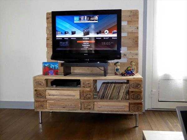 Wood Pallet Tv Stand With Storage 101 Pallets