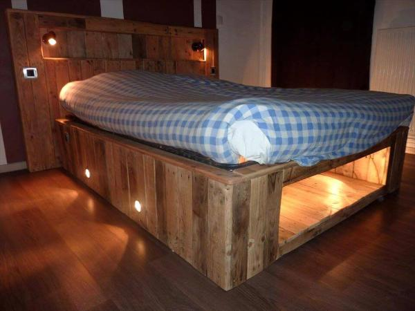 no-cost wooden pallet sturdy bed with lights