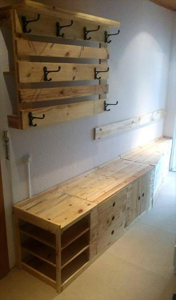upcycled wooden pallet entryway bench and wall hooks