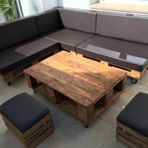 repurposed wooden pallet L-shape sitting set