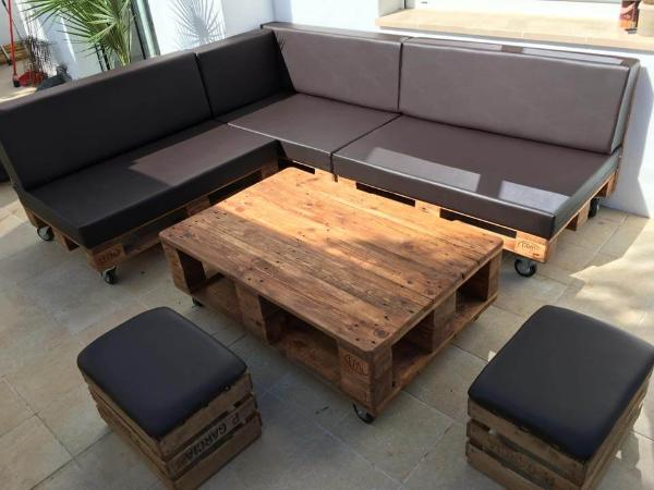 Repurposed Wooden Pallet L Shape Sitting Set