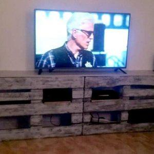 handcrafted wooden pallet TV stand or entertainment center