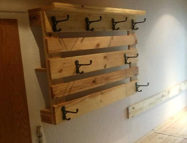 handcrafted wooden pallet entryway wall hooks