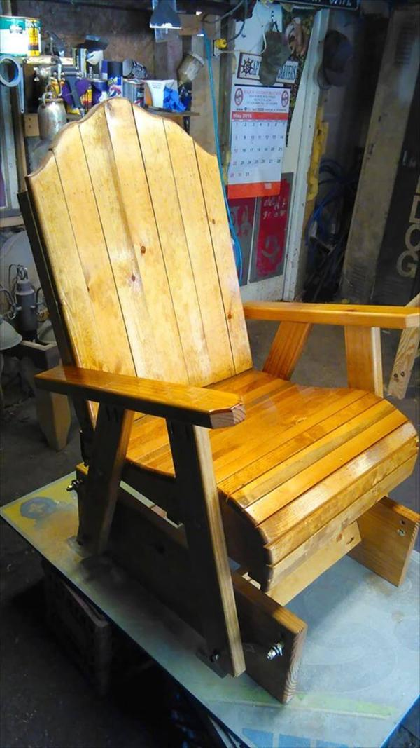 Recycled pallet glider chair