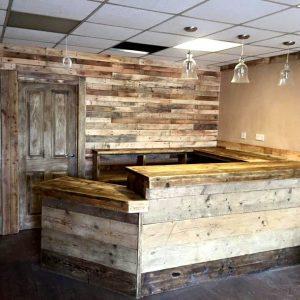wooden pallet large indoor bar
