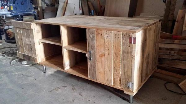 handcrafted wooden pallet media cabinet or TV stand
