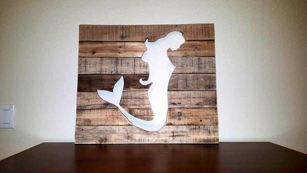 wooden pallet mermaid wall art