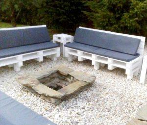 Pallet Outdoor Seating around the Fireplace